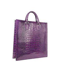 L.A.P.A. | Violet Croco Large Tote Leather Handbag W/Pouch