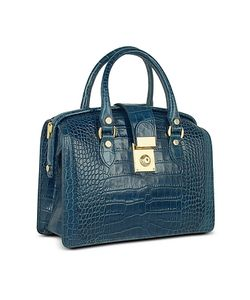 L.A.P.A. | Croco-Stamped Italian Leather Doctor Bag
