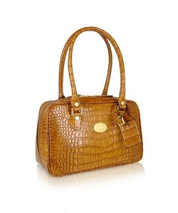 L.A.P.A. | Croco Stamped Italian Leather Shoulder Bag