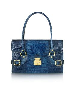 L.A.P.A. | Blue Croco Stamped Italian Leather Shoulder Bag