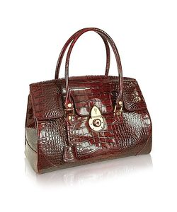 L.A.P.A. | Ruby Croco Stamped Patent Leather Satchel Bag