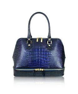 L.A.P.A. | Croco Patent Leather Bowler Bag