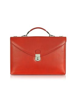 L.A.P.A. | Ruby Red Double Gusset Leather Briefcase