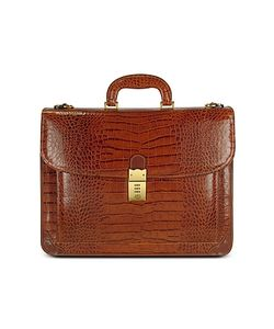 L.A.P.A. | Mens Front Pocket Croco Stamped Italian Leather Briefcase