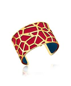Les Georgettes | Giraffe Plated Bracelet W/Red And Petrol Blue Reversible Leather Strap