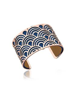 Les Georgettes | Poisson Rose Plated Bracelet W/Navy Blue And Beige Reversible Leather