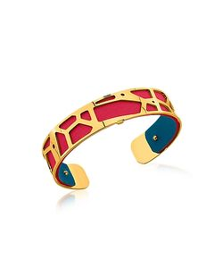 Les Georgettes | Small Giraffe Plated Bracelet W/Red And Petrol Blue Reversible Leather