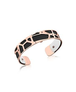 Les Georgettes | Small Girafe Rose Plated Bracelet W/Black And White Reversible Leather