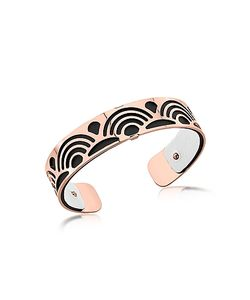 Les Georgettes | Small Poisson Rose Plated Bracelet W/Black And White Reversible Leather