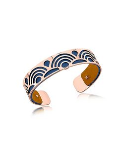 Les Georgettes | Small Poisson Rose Plated Bracelet W//Navy Blue And Beige Reversible