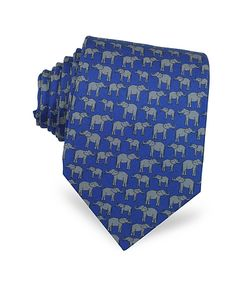 Laura Biagiotti | Elephants Print Silk Narrow Tie