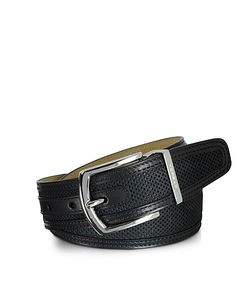 Moreschi | St.Barth Perforated Nubuck And Leather Belt