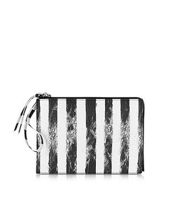 MM6 Maison Martin Margiela   Black And White Striped Clutch