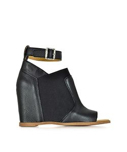 MM6 Maison Martin Margiela | Leather Wedge Sandal W/Ankle Wrap