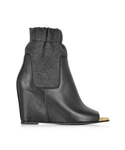 MM6 Maison Martin Margiela   Leather Open Toe Ankle Boot W/Sock Detail