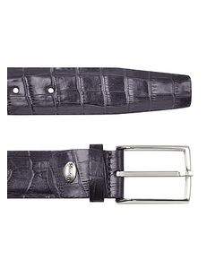 Manieri | Mens Violet Croco Stamped Leather Belt