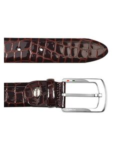 Manieri | Mens Croco Stamped Patent Leather Belt
