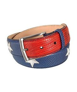 Manieri | Stars And Stripes Patchwork Leather Belt