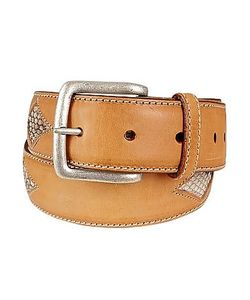 Manieri | Snake Stamped Inserts Italian Leather Belt