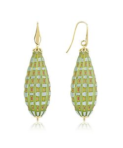 House of Murano | Old Venice Oval Gold Foil Drop Earrings