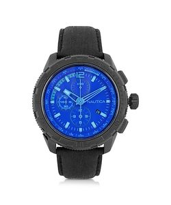 Nautica | Nst 101 Stainless Steel Case And Leather Strap Mens Chronograph