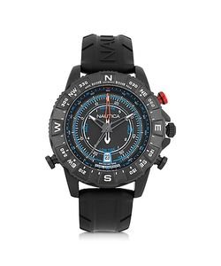 Nautica | Nsr 103 Tide Compass Stainless Steel Case And Rubber Strap