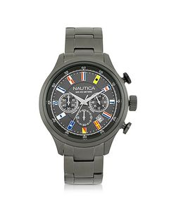 Nautica | Nct 16 Brushed Gunmetal Stainless Steel Mens Chronograph Watch
