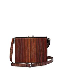 BERTONI 1949 | Gemma And Wood-Effect Leather Crossbody Bag