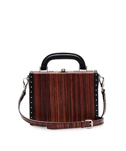 BERTONI 1949 | Wood Effect Leather Mini Squared Bertoncina Bag