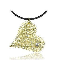 Orlando Orlandini | Diamond 18k Yellow Gold Heart Pendant W/Lace