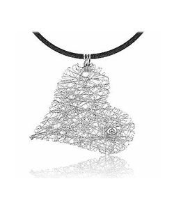Orlando Orlandini | Diamond 18k Heart Pendant W/Lace