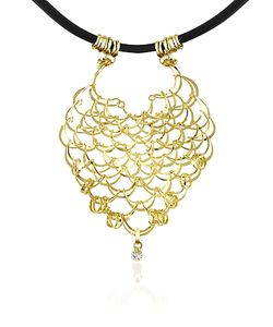 Orlando Orlandini | Scintille Diamond Drop 18k Yellow Net Necklace