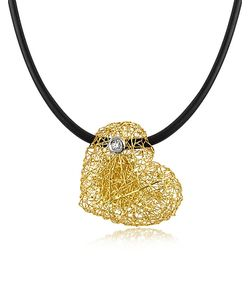 Orlando Orlandini | Arianna Small Diamond Heart Pendant W/Rubber Lace