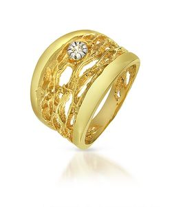 Orlando Orlandini | Diamond Open-Work 18k Yellow Band Ring