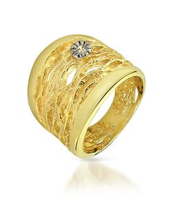 Orlando Orlandini | Diamond Open-Work 18k Yellow Gold Band Ring