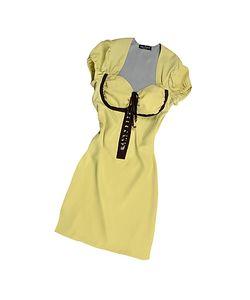 Hafize Ozbudak | Pistachio Brown Trim Silk Short Sleeve Tunic