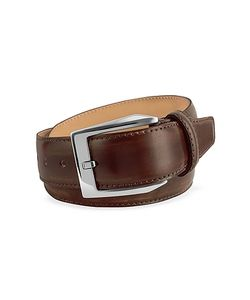 Pakerson | Mens Coffee Brown Hand Painted Italian Leather Belt
