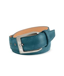 Pakerson | Mens Petrol Hand Painted Italian Leather Belt