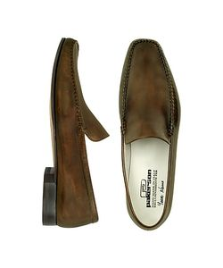 Pakerson   Dark Italian Handmade Leather Loafer Shoes