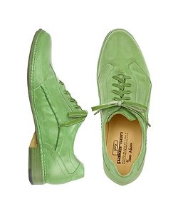 Pakerson | Pistachio Italian Handmade Leather Lace-Up Shoes