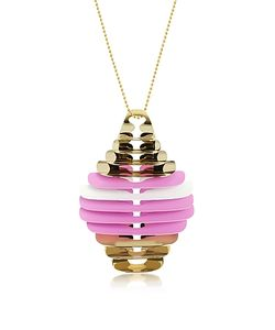Pluma | Pink And White Fishbone Pendant Necklace