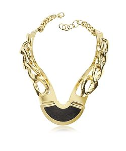 Pluma | Plated Brass And Black Leather Collar Chain Necklace