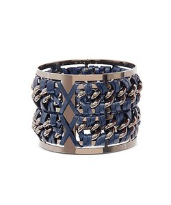 Pluma | Gunmetal Brass And Navy Blue Leather Large Bangle In Fumoso