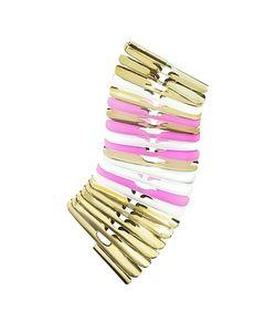 Pluma | White And Pink Fishbone Bangle