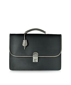 Pineider | City Chic Gray And Fabric Leather Briefcase