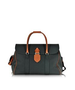 Pineider | Country Dark Grey Fabric And Brown Leather Travel Bag