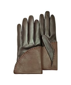 Pineider | Womens Two-Tone Short Nappa Gloves W/ Silk Lining