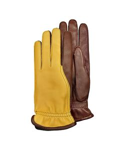 Pineider | Mens Two-Tone Deerskin Leather Gloves W/ Cashmere Lining