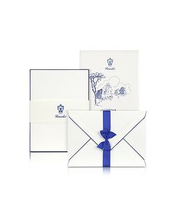 Pineider | Capri 25 Cards With Handpainted Blue Border