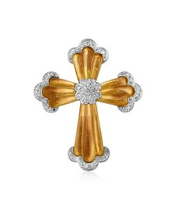 Roma Imperiale | Carved Gemstone 18k Gold And Diamond Cross Pendant